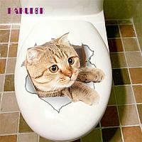 """Наклейка на стену, украшения стены наклейки на туалет """"вылезающий рыжий котик"""" (23*23 см)"""