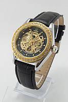 Женские механические наручные часы Omega золотые с черным ремешком с камнями