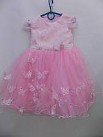 Нарядное розовое пышное платье на 3-5 года