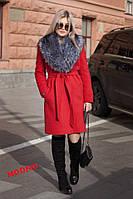 Женское зимнее пальто Ксения с искуственным воротником красное