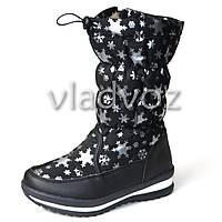 Модные дутики на зиму для девочки сапоги черные снежинки 32р.