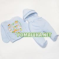 Костюмчик (комплект) на выписку р. 56 для новорожденного ткань ФУТЕР 100% хлопок 3908 Голубой