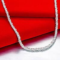 Цепочка 4 мм сложноплетенный жгут алмазная грань покрытие 925 серебро проба