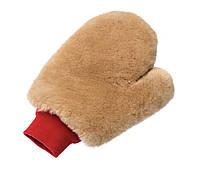 1081 Рукавиця з пальцем для мийки з дуже м'якою овчини, коричнева