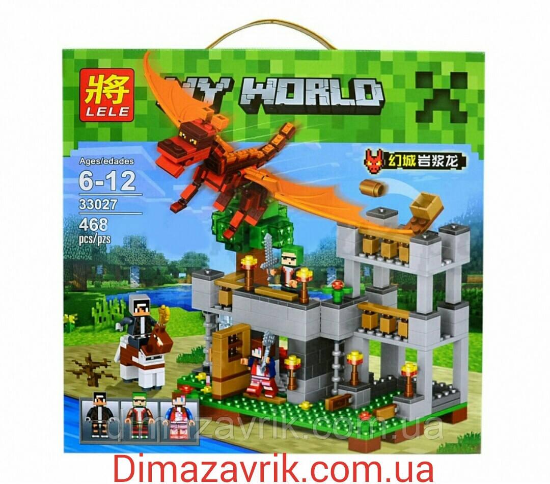 "Конструктор Lele Minecraft 33027 ""Красный дракон"" (аналог Lego Майнкрафт, Minecraft) 468 деталей"