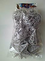 Новогодние игрушки на елку Набор серебро 12 штук