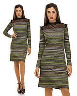 Теплое винтажное платье с вставками сетки Код:591884493