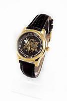 Женские механические наручные часы Omega золотые с черным ремешком