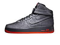 Зимние мужские кроссовки Nike Air Force 1 High Gray/Orange Suede