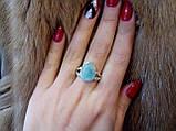 Натуральный ларимар кольцо капля с  натуральным камнем ларимар (Доминикана) в серебре 20-21 размер., фото 3