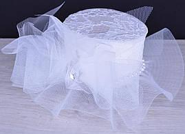 """Нарядная заколка-шляпка """"Мулен Руж"""" для девочек. Белая. Оптом и в розницу"""