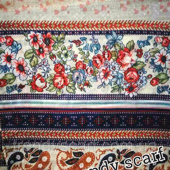 Женский Шарф палантин вискоза белый бежевый синий голубой красный оранжевый цветы цветочный принт абстракция