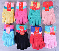 Детские перчатки модель №А5. 5-7 лет. Разные цвета. Купить оптом
