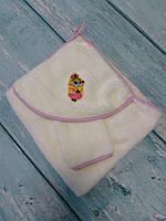 Махровое полотенце с уголком+варежка
