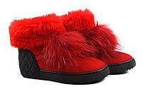 Ботинки женские Euromoda натуральный замш, цвет красный (ботильоны, платформа, зима, мех, Турция)