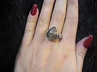 Красивое кольцо с камнем лабрадор в серебре размер 20,5 Индия, фото 1