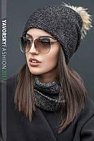 Комплект шапка и шарф-хомут (чёрный меланж)