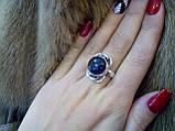Аметист круглое кольцо с аметистом кольцо с камнем аметист в серебре 18,5-19 размер Индия, фото 3