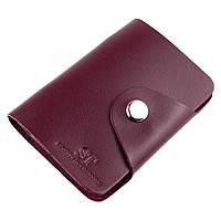 Картхолдер кожаный на 2 кнопки ST-06 (бордовый), фото 1