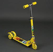 Самокат металлический, 3 колеса, жёлтый, (3206)