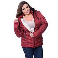 Куртка женская теплая на овчинке с капюшоном  K1227HG
