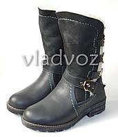 Подростковые кожаные сапоги из натуральной кожи на зиму для девочки серые 34р.