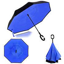 Ветрозащитный зонт обратного сложения д110см 8сп WHW17133 Blue D., фото 2