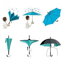 Ветрозащитный зонт обратного сложения д110см 8сп WHW17133 Blue D., фото 3