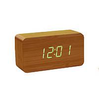 Электронные настольные часы под дерево 1294 (подсветка: зелёная)