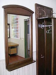 Дзеркало настінне в дерев'яній рамці з поличкою (колір на вибір)