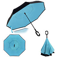 Ветрозащитный зонт обратного сложения д110см 8сп WHW17133 Blue L.