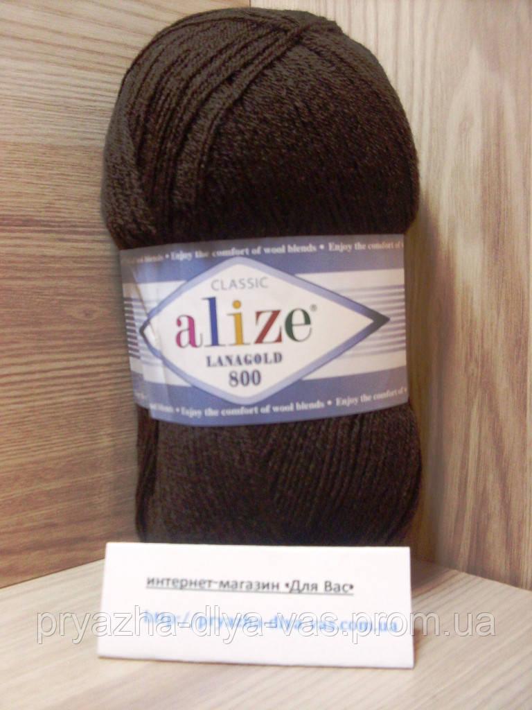 Полушерстяная пряжа (49%-шерсть,51%-акрил,100г/800м) Alize Lanagold 800  (26 коричневый)