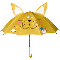 """Зонтик детский трость жёлтый с ушками """"Лёвушка"""" повреждение"""