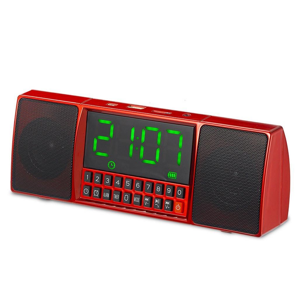 Портативна колонка MP3 годинник WS-1515 bluetooth Red