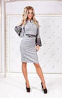 Платье для офиса с кокетливым бантиком