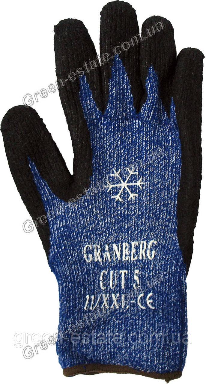 Перчатки рабочие теплые вспененная ладонь синие