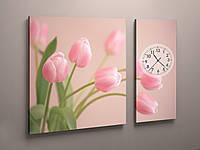 Часы настенные розовые тюльпаны