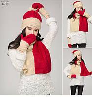 Зимний комплект шапка,шарф, варежки