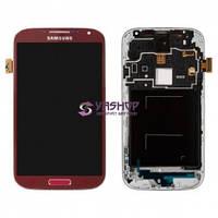 Дисплей Samsung i9500 Galaxy S4 с сенсором (тачскрином) и рамкой красный