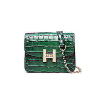 Стильная женская маленькая сумка зеленого цвета со змеиным принтом