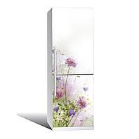 Наклейка на холодильник  Полевые цветы  (виниловая наклейка, самоклейка, оклеить холодильник, декор)
