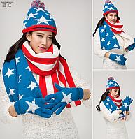 """Зимний комплект шапка,шарф, варежки """"Америка"""""""