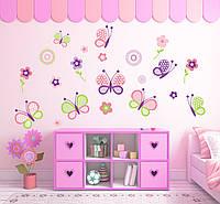 """Красивые наклейки на стену, окна, зеркала виниловые """"набор бабочки"""" декор в детскую для девочек"""