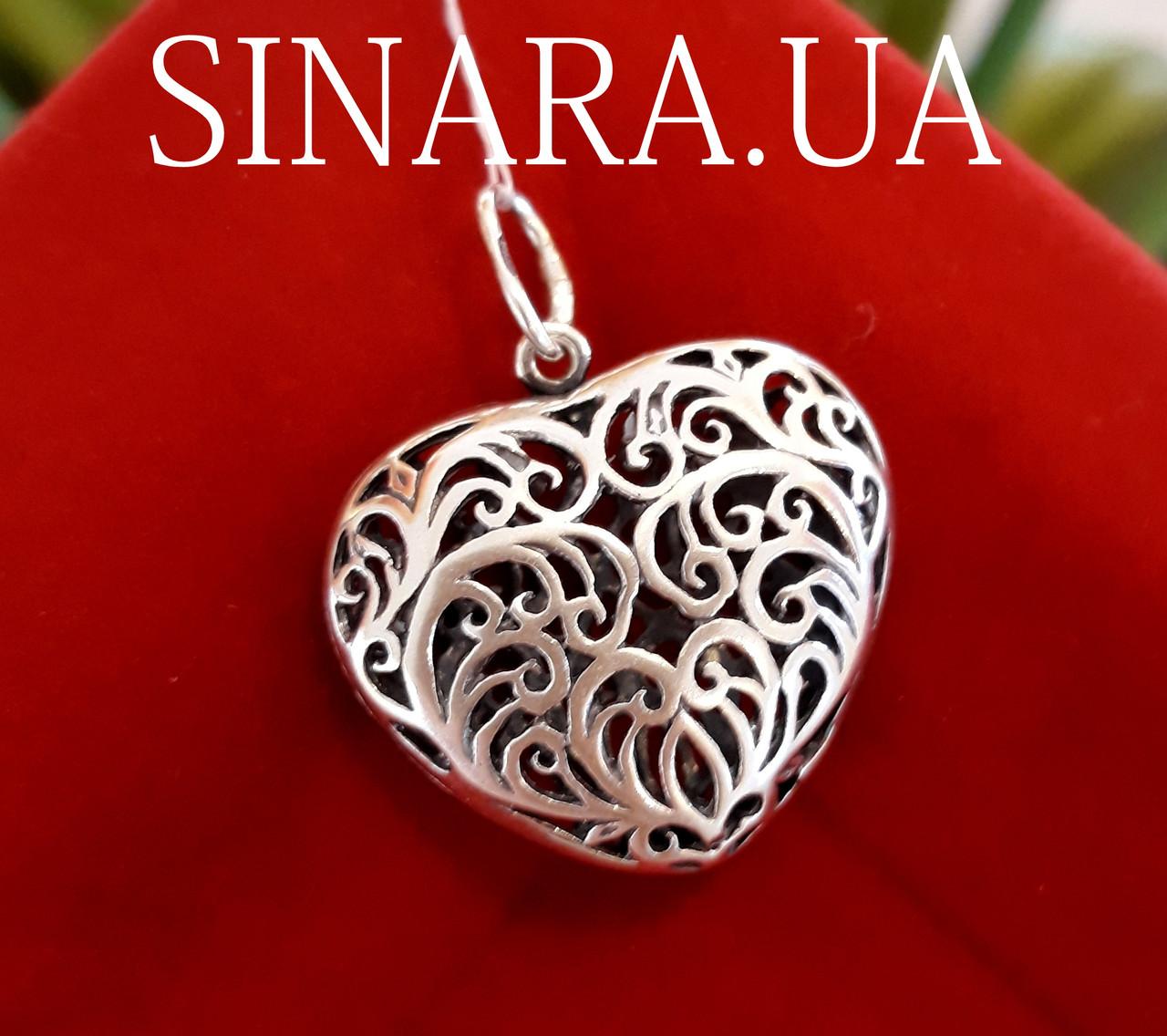 Кулон Сердце ажурное большое серебро 925 пробы
