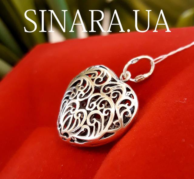 Кулон Сердце серебро картинка 2