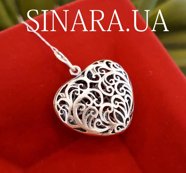 Кулон Сердце серебро картинка 4