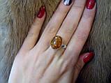 Янтарь индийское аккуратное кольцо с ярким янтарем в серебре. Размер 17,5-18., фото 4