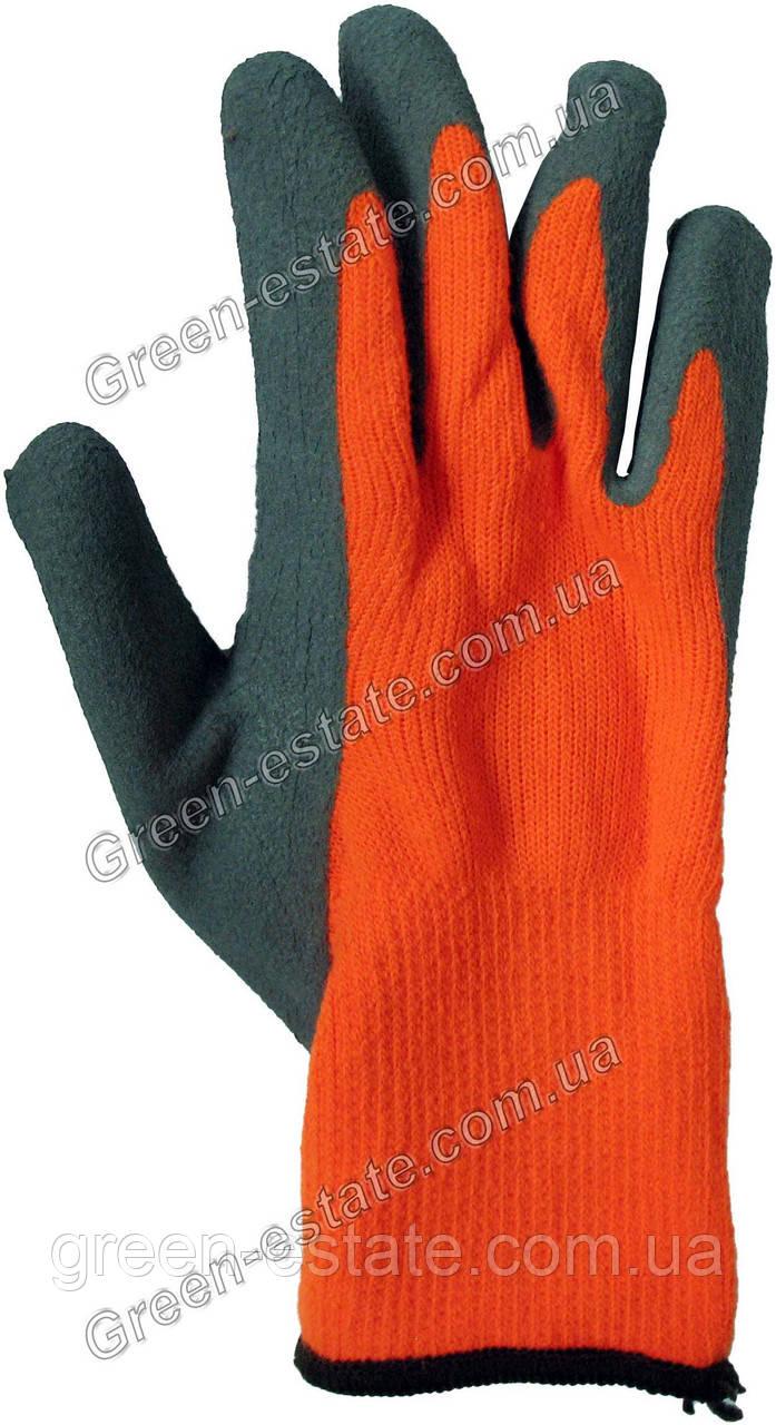 Перчатки рабочие зимние вспененный латекс оранжевые