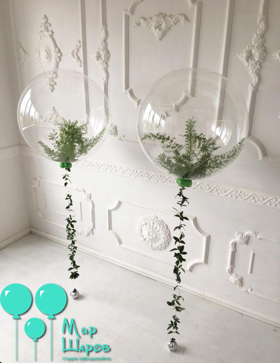 Пластиковый шар с живой флористикой