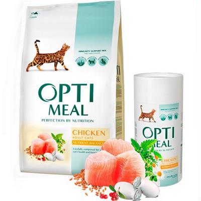 Optimeal (Оптимил) CHICKEN - сухой корм для взрослых кошек (курица), 4кг.